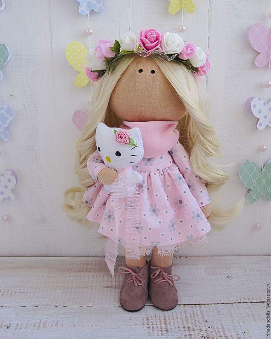 Куклы тыквоголовки ручной работы. Ярмарка Мастеров - ручная работа. Купить Куколка с китти. Handmade. Бледно-розовый, интерьерная кукла