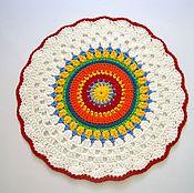 Для дома и интерьера handmade. Livemaster - original item The Mat is multi-colored knit cord Summer. Handmade.