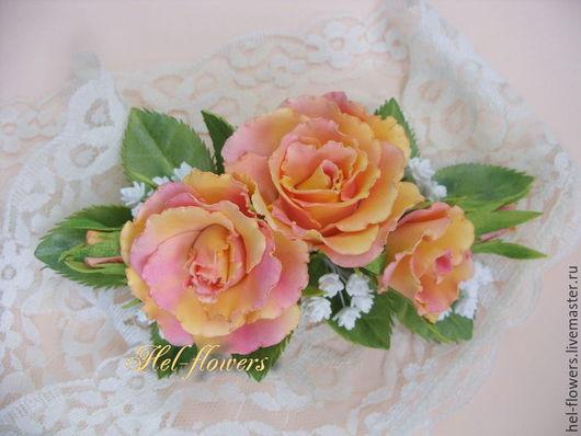 """Цветы ручной работы. Ярмарка Мастеров - ручная работа. Купить Заколка и брошь с розами и гипсофилой из фоамирана  """"Венера"""". Handmade. Белый"""