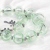 Украшения handmade. Livemaster - original item Mint breeze - necklace and earring set lampwork. Handmade.