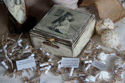 """Подарки для влюбленных ручной работы. Ярмарка Мастеров - ручная работа. Купить Ретро сундучок """"Причины, почему я тебя люблю..."""". Handmade."""
