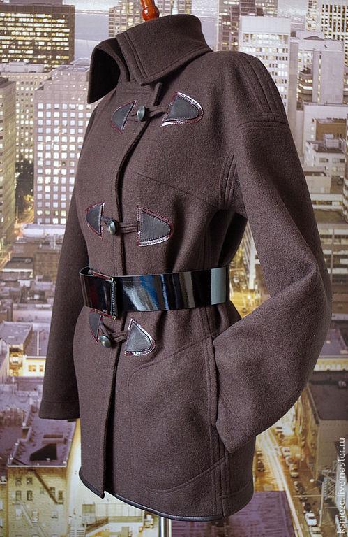 """Верхняя одежда ручной работы. Ярмарка Мастеров - ручная работа. Купить Кардиган-бушлат """"тёмный шоколад"""" из шерстяного трикотажа. Handmade."""