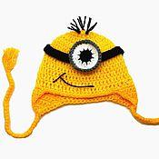 Работы для детей, ручной работы. Ярмарка Мастеров - ручная работа Шапочка Миньон (детская шапка, шапочка детская, зимняя шапочка) желтый. Handmade.