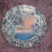 """Подарки к праздникам ручной работы. Ярмарка Мастеров - ручная работа Декоративная тарелка """"Зимний лес"""". Тарелка на стену,Зимнее настроение. Handmade."""