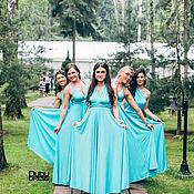 Платья-трансформеры для подружек невесты бирюза