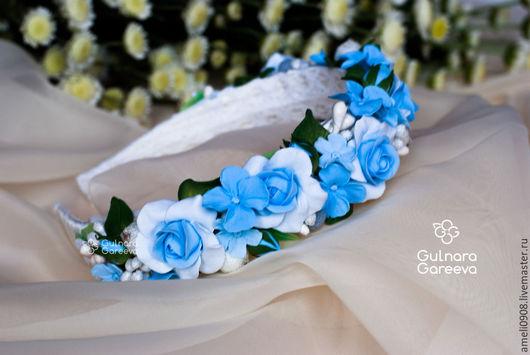 Диадемы, обручи ручной работы. Ярмарка Мастеров - ручная работа. Купить Ободок в голубом цвете. Handmade. Голубой, ободок для волос