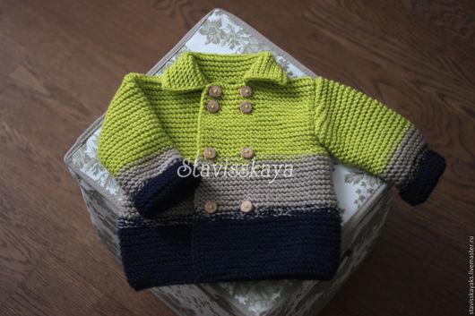 Одежда для мальчиков, ручной работы. Ярмарка Мастеров - ручная работа. Купить Вязаный кардиган. Handmade. Салатовый, вязаная одежда для детей