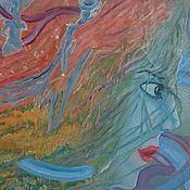 """Картины и панно ручной работы. Ярмарка Мастеров - ручная работа Картина маслом """"За мечтой"""", авторская. абстракция маслом. женщина. Handmade."""