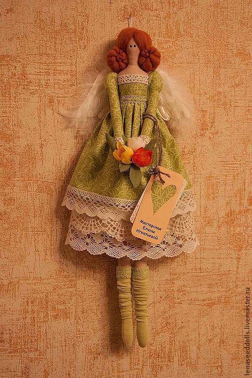 Куклы Тильды ручной работы. Ярмарка Мастеров - ручная работа. Купить - Ангел ЕВА ГРИН - тильда. Handmade. Зеленый, ангел