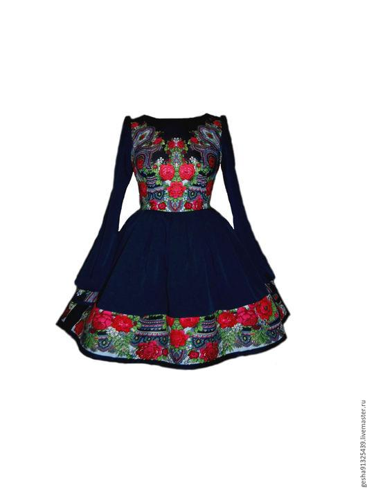 """Платья ручной работы. Ярмарка Мастеров - ручная работа. Купить Платье """"Аркадия"""" заказное. Handmade. Тёмно-синий, русское"""