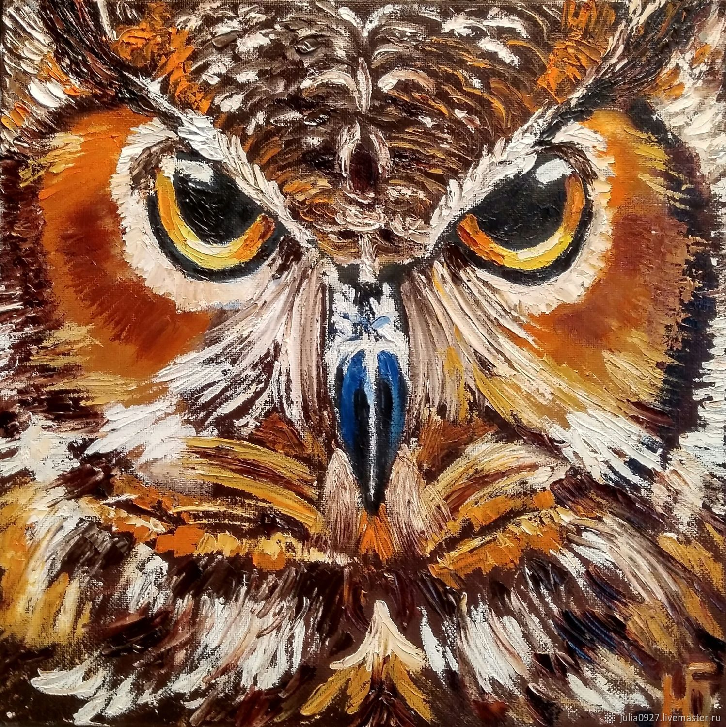 Painting owl, painting with owl Wise owl oil palette knife, Pictures, Ekaterinburg,  Фото №1