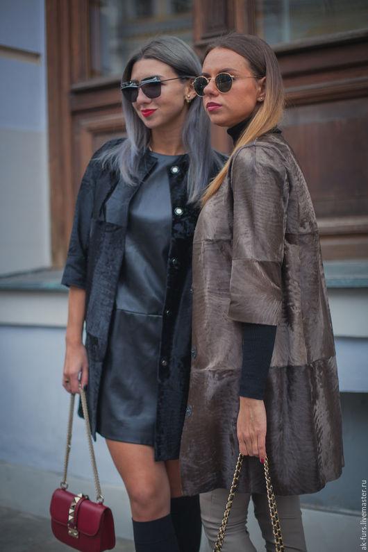 Верхняя одежда ручной работы. Ярмарка Мастеров - ручная работа. Купить Меховое Пальто из Каракульчи Муар коричневое. Handmade. Пальто
