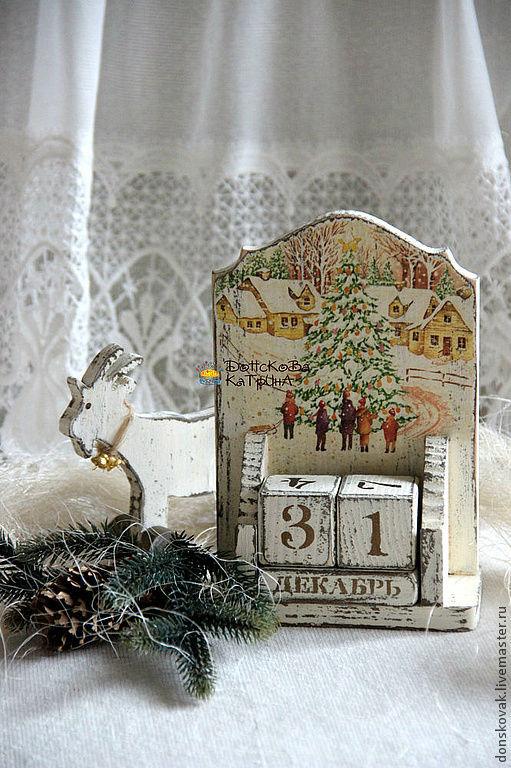 """Новый год 2017 ручной работы. Ярмарка Мастеров - ручная работа. Купить Вечный календарь """"В ожидании праздника"""". Handmade. Календарь"""