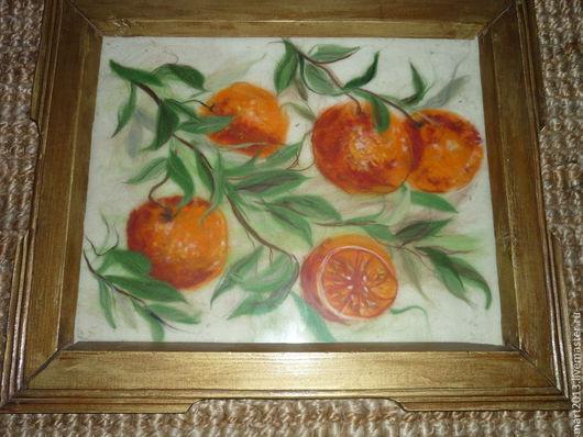 """Натюрморт ручной работы. Ярмарка Мастеров - ручная работа. Купить Картина шерстью """"Апельсиновый рай"""". Handmade. Рыжий, апельсиновое дерево"""