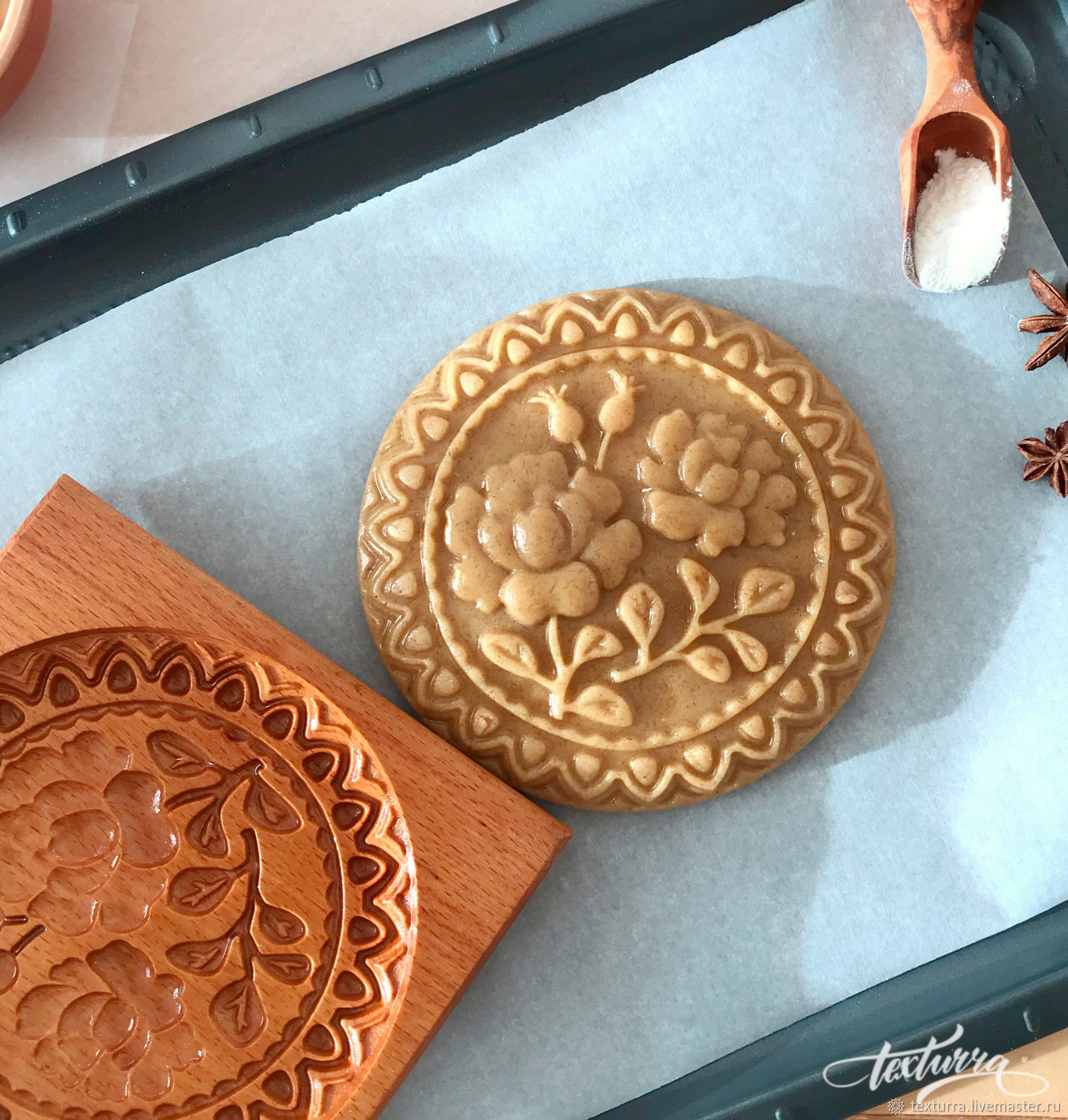 "Kitchen handmade. Livemaster - handmade. Buy Gingerbread mold ""Peony"".Gingerbread, wood, christmas gift, wood"