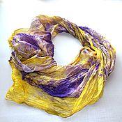 Аксессуары ручной работы. Ярмарка Мастеров - ручная работа шелковый женский шарф фиолетово жёлтый натуральный шелк. Handmade.