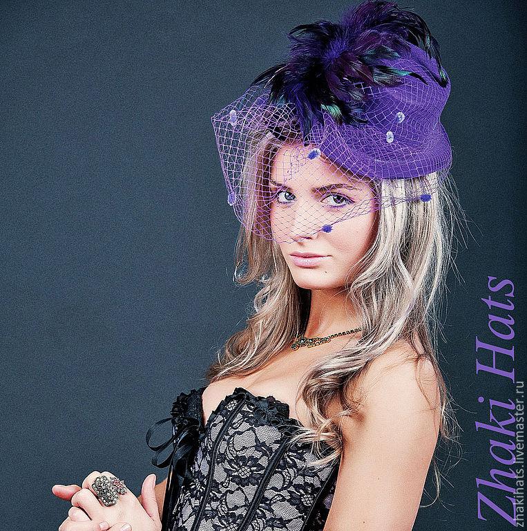 """Шляпы ручной работы. Ярмарка Мастеров - ручная работа. Купить Цилиндр """"Spirelly"""". Handmade. Вуаль, фиолетовый, цилиндр, цилиндрик"""