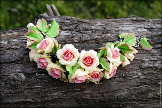 """Браслеты ручной работы. Ярмарка Мастеров - ручная работа. Купить Браслет """"Нежные розы"""". Handmade. Комбинированный, браслет с цветами"""