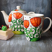 """Посуда ручной работы. Ярмарка Мастеров - ручная работа """"Маково поле"""" - чайный набор (0168). Handmade."""