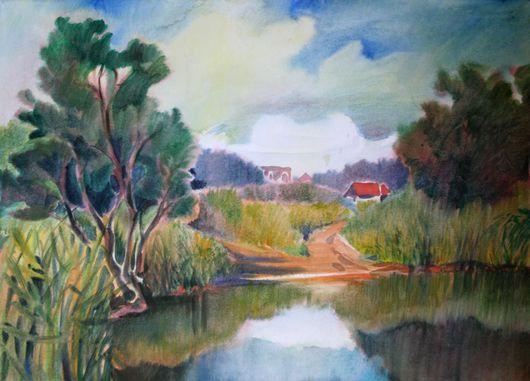 """Пейзаж ручной работы. Ярмарка Мастеров - ручная работа. Купить Картина """"Речка Клязьма"""". Handmade. Голубой, река, лето, акварель"""