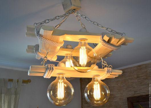 Освещение ручной работы. Ярмарка Мастеров - ручная работа. Купить Люстра из состаренного дерева с лампами Эдисона. Handmade. Белый