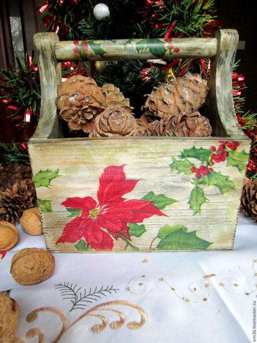 """Корзины, коробы ручной работы. Ярмарка Мастеров - ручная работа. Купить """"Рождественская звезда"""" Корзинка из сосны. Handmade. Комбинированный, рождество"""