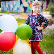 Работы для детей, ручной работы. Ярмарка Мастеров - ручная работа Хохлома туника и леггинсы для девочки. Handmade.