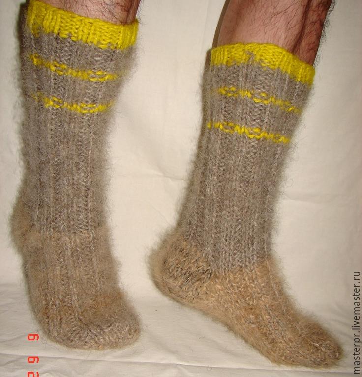 Носки   пуховые  вязанные арт. №53м из собачьей шерсти . Носки связаны из 2-х ссученных ниток . Очень толстые и очень теплые . Ручное прядение.Ручное вязание.