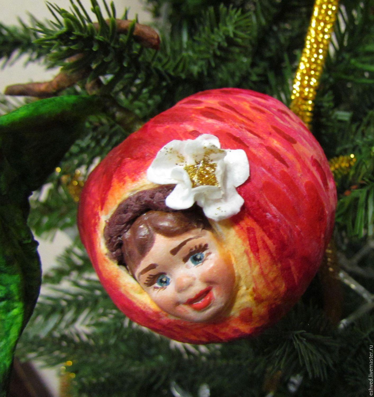 Яблочко молодильное - авторская елочная игрушка из ваты, Куклы и пупсы, Москва,  Фото №1