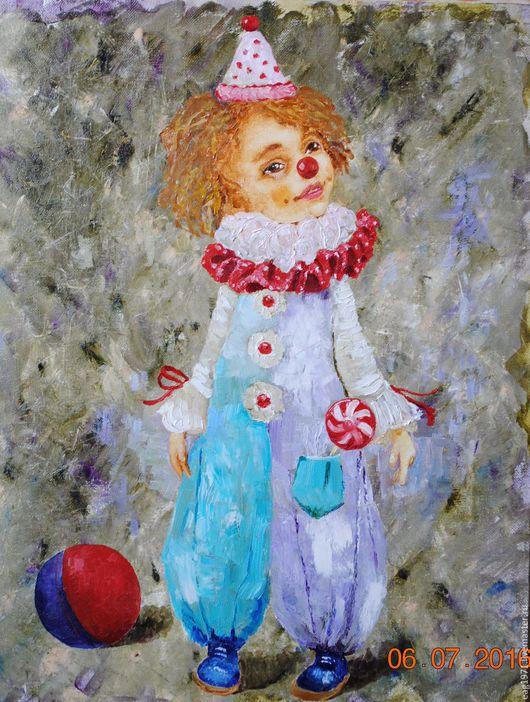 """Люди, ручной работы. Ярмарка Мастеров - ручная работа. Купить Картина маслом """"Клоун любимчик Пашка"""". Handmade. Комбинированный"""