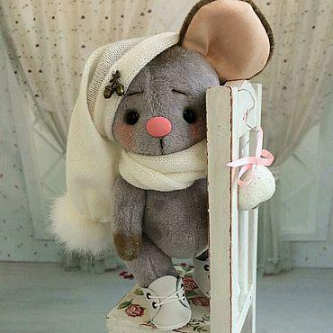 Куклы и игрушки ручной работы. Ярмарка Мастеров - ручная работа Серенькая гномочка... мышка тедди 16.5 см. Handmade.