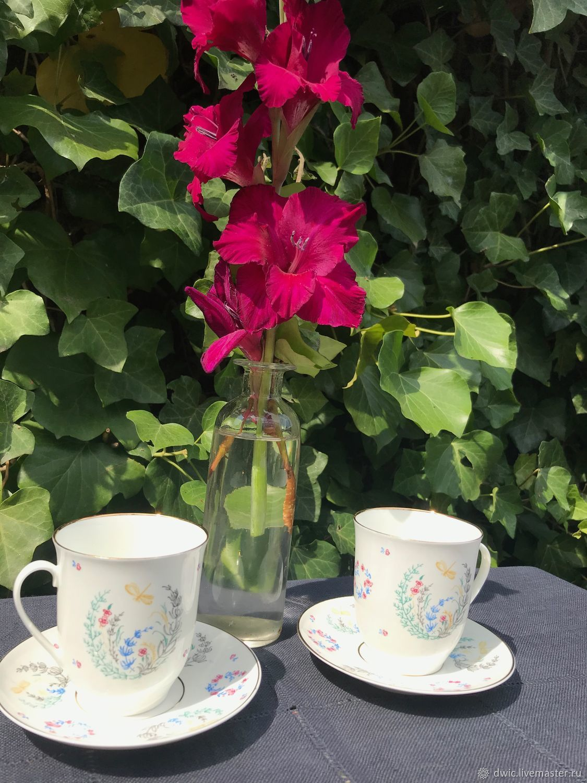 Coffee couples 'Dragonflies' of the Lomonosov porcelain factory, Russia, Vintage mugs, Arnhem,  Фото №1