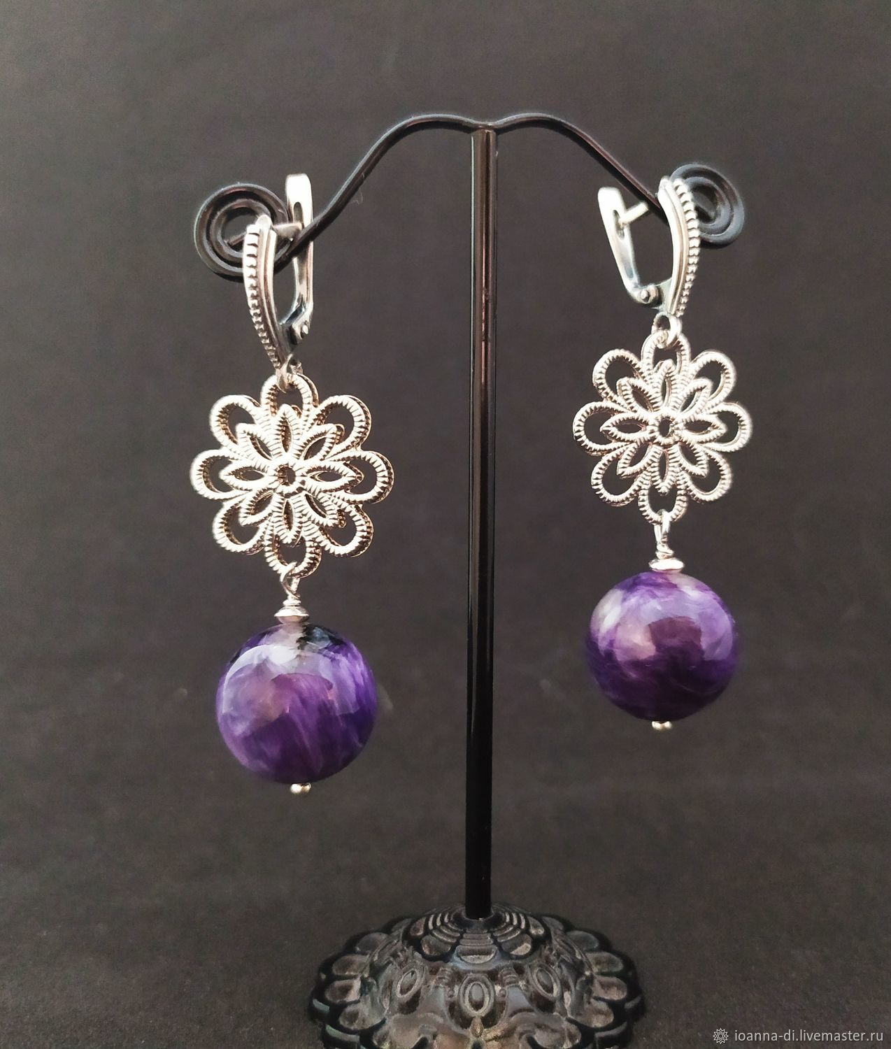 Earrings 'charoite Charm' silver, Earrings, Moscow,  Фото №1