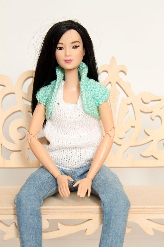 Одежда для кукол ручной работы. Ярмарка Мастеров - ручная работа. Купить Вязаная майка и болеро для Барби. Handmade. Кукла