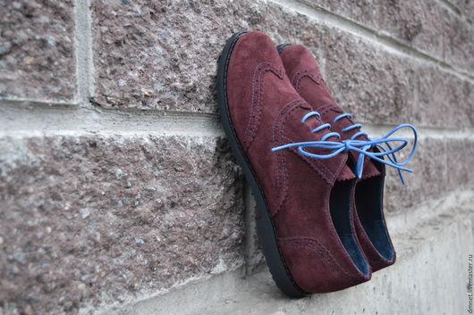 Обувь ручной работы. Ярмарка Мастеров - ручная работа. Купить Оксфорд бордовый замшевый с декоративной отстрочкой. Handmade. Бордовый