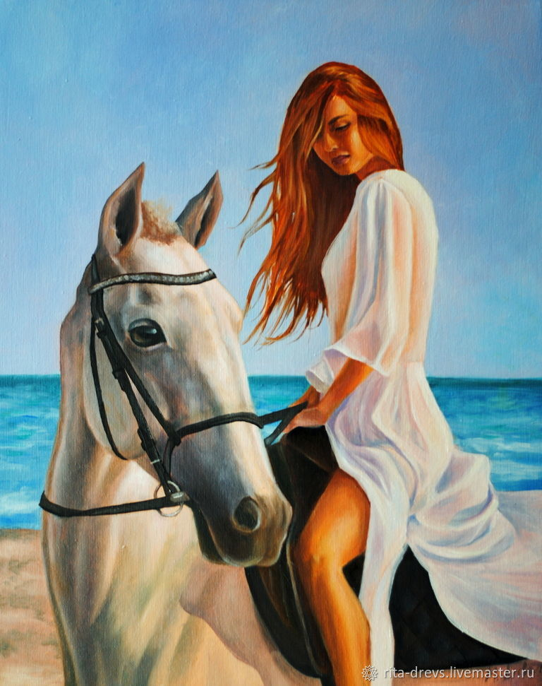 Oil painting Girl and horse. Walk on the sea, Pictures, Rostov-on-Don,  Фото №1