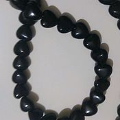 Материалы для творчества handmade. Livemaster - original item Black onyx. Beads-hearts 20 mm. Handmade.