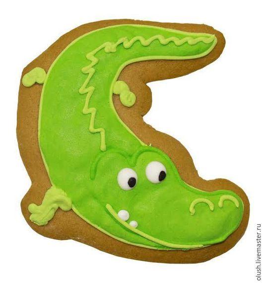 """Кулинарные сувениры ручной работы. Ярмарка Мастеров - ручная работа. Купить Пряник детский """"Крокодильчик"""". Handmade. Зеленый, пряник"""
