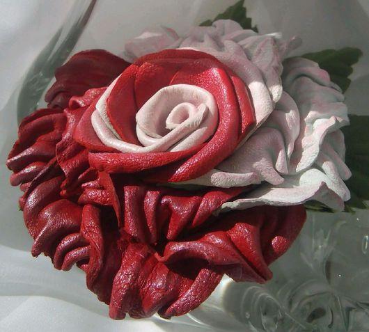 Броши ручной работы. Ярмарка Мастеров - ручная работа. Купить Цветок из кожи роза двухцветная.. Handmade. Цветы из кожи