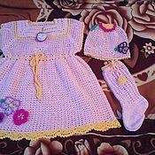Платье ручной работы. Ярмарка Мастеров - ручная работа Платье, гольфы и шапочка. Handmade.