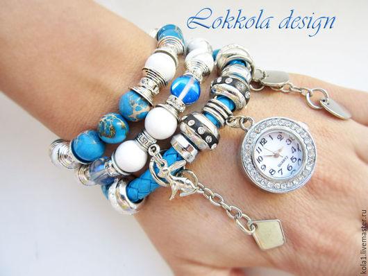 """Часы ручной работы. Ярмарка Мастеров - ручная работа. Купить Часы """"Охота"""". Handmade. Синий, заяц, браслеты, кахолонг"""