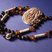 Винтаж handmade. Livemaster - original item Massive necklace with the Dragon. ivory, tiger`s eye, amber.. Handmade.