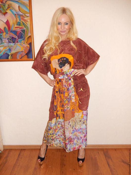 Платья ручной работы. Ярмарка Мастеров - ручная работа. Купить платье -Поцелуй(Климт). Handmade. Коричневый, платье, Климт, натуральный шёлк