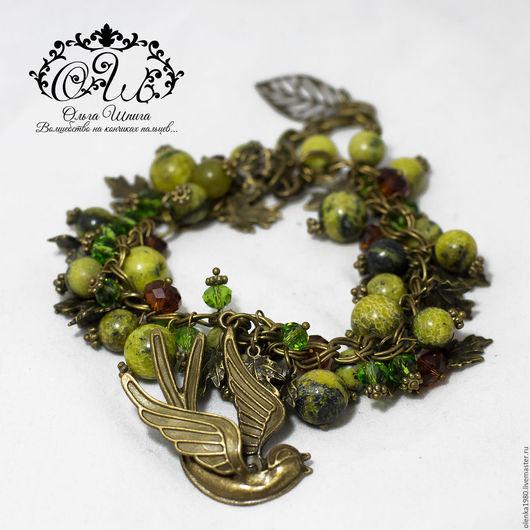 Браслет с натуральной бирюзой `Лесные трели` браслет из камней купить подарок