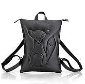 Сумки и аксессуары handmade. Livemaster - original item Black Leather Backpack with Applique Fox. Handmade.