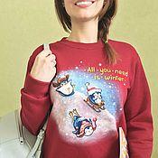 """Одежда ручной работы. Ярмарка Мастеров - ручная работа Новогодний свитшот """"Озорные пингвины"""" ручная роспись. Handmade."""