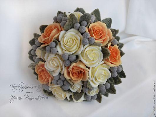 Свадебные цветы ручной работы. Ярмарка Мастеров - ручная работа. Купить Букет невесты из роз и брунии. Handmade. Букет невесты