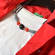 Украшения handmade. Livemaster - original item Necklace Japan lampwork glass red black grey. Handmade.