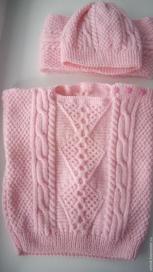 Одежда для девочек, ручной работы. Ярмарка Мастеров - ручная работа. Купить Комплект детский с ирландским узором, розовый. Handmade.
