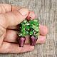 Сережки с бутонами Серьги с цветами Красивые весенние сережки Длина 5 см.